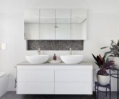 The Block 2018: The darker terrazzo pops against a mostly white palette in Courtney and Hans' ensuite.