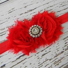 Baby Headband..Red Headband..Newborn Headband..Toddler Headband..Chiffon Headband..Christmas Headband..Flower Girl Headband. $9.00, via Etsy.