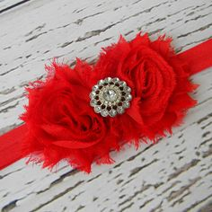 Baby Headband..Red Headband..Newborn Headband..Toddler Headband..Chiffon Headband..Christmas Headband..Flower Girl Headband. $9.00, via Etsy.