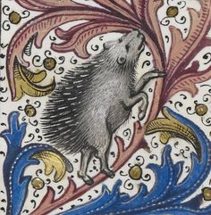Detail of a miniature of a hedgehog; from Jean de Wavrin, Recueil des croniques d'Engleterre, vol. 1, Netherlands (Bruges), 1471-1483, Royal MS 15 E. iv, f. 180r.