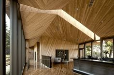 Designed by Allied Works Architecture, Tasting Room at Sokol Blosser Winery, The design began by marking the land, cutting a series of gardens. Interior Design Magazine, Wood Architecture, Beautiful Architecture, Caves, Winery Tasting Room, Wine Tasting, Plafond Design, In Vino Veritas, Wood Interiors