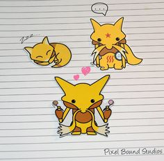 Abra/Kadabra/Alakazam Stickers and Magnets by PixelBoundStudios Make A Video Game, Names Of Artists, All Pokemon, Catch Em All, All Paper, Magnets, Pikachu, Digital Art, Half Life