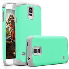 Galaxy S5 Case, MagicMobile® Hybrid Ultra Protective Slim Armor Defender Case For Samsung Galaxy S5 Shockproof Rubber Skin Hard Dual Cover High Impact Case for Galaxy S5 (2014)[Mint Green /Light Gray]