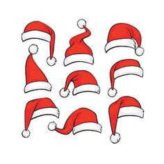 Buy Santa Red Hats with White Fur by MicrovOne on GraphicRiver. Santa red hats with white fur. Christmas Rock, Christmas Design, Simple Christmas, Christmas Holidays, Christmas Crafts, Christmas Clipart, Easy Christmas Drawings, Christmas Doodles, Christmas Paintings
