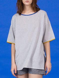 #AdoreWe #StyleWe WLZQ Casual Stripes Cotton Half Sleeve Crew Neck T-Shirt - AdoreWe.com