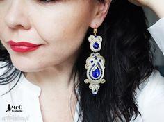 • Ręcznie wykonane kolczyki, biżuteria - kobalt i beż