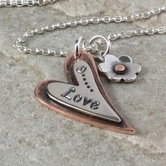 Heart necklace gift for her hand stamped heart jewelry