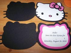 Invitacion de cumpleaños de Hello Kitty de cartulina