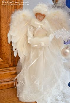 2016 Christmas Dining Room - The Dedicated House Christmas Tree Fairy, Angel Christmas Tree Topper, Christmas 2016, Christmas Angels, Christmas Crafts, Christmas Decorations, Dining Room Blue, Gloomy Day, Dear Mom