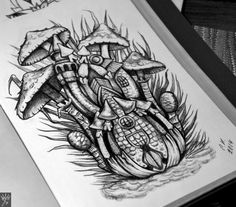 Tattoo Грибной дом - tattoo's photo In the style Illustrations, Differe Tattoo Photos, Tattoo Designs, Sketch Ideas, Tattoos, Mushroom, Illustration, Creative, Castle, Paper