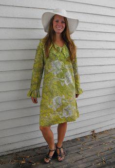 Vintage 60s Green Print Dress Ruffle Mod Long Sleeves by soulrust, $39.99