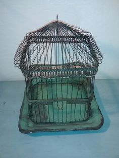 Antique Wire Hendryx Bird Cage  Green Metal by thelongacreflea