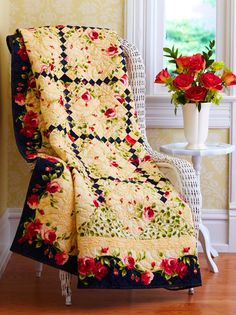 climbing rose from Quilt sampler 2010 Winter Love the black in this.. My mother in law would love this!