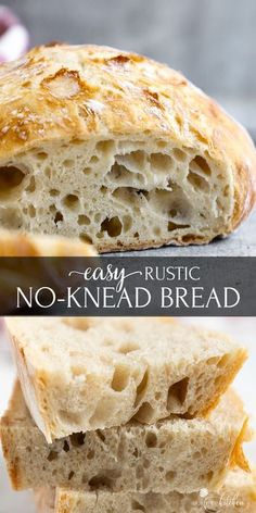 This easy No-Knead Bread loaf has a deliciously crisp crust and a soft spongy center. It's the perfect blend of soft and chewy. With only 4 ingredients (flour, salt, yeast and water), you can make a bakery-quality, scrumptious loaf of homemade bread. #nokneadbread #bread #olgainthekitchen #easyrecipe #recipes