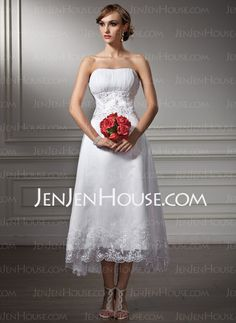 Wedding Dresses - $136.99 - A-Line/Princess Strapless Tea-Length Organza  Satin Wedding Dresses With Lace  Beadwork (002008177) http://jenjenhouse.com/A-line-Princess-Strapless-Tea-length-Organza--Satin-Wedding-Dresses-With-Lace--Beadwork-002008177-g8177
