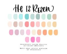 He is Risen Procreate Color palette/Color Swatches/Instant Colour Pallete, Colour Schemes, Color Combos, Color Palettes, Cool Color Palette, Pastel Palette, He Is Risen, Design Seeds, Color Swatches