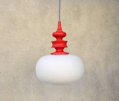 VINTAGE PENDANT LIGHT, opaline glass pendant, 1970's light, ceiling light, red wooden light, textile cable, zebra cable, decorative lamp