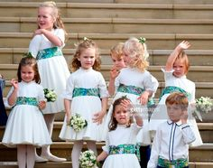 The bridesmaids and page boys, including Prince George of Cambridge and Princess Charlotte of Cambridge , wave off Britain's Princess Eugenie of York and her husband Jack Brooksbank from the West. Get premium, high resolution news photos at Getty Images Princesa Charlotte, Princesa Eugenie, Prince Georges, Princess Eugenie Jack Brooksbank, Princess Anne, Robbie Williams Daughter, Lady Diana, George Of Cambridge, Wedding Portraits