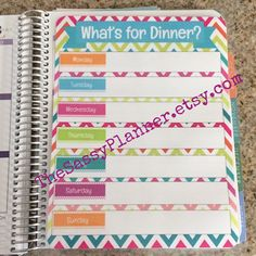 Bright Colors Meal Planning & Grocery List Laminated Dashboard Insert