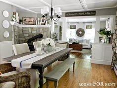 farmhouse dining room, white columns, woodsmoke grey paint