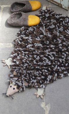 Hand-felted Hedgehog rug