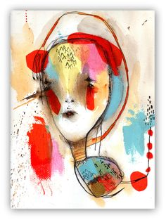 """Original Painting, Illustration Portrait Painting, Original Abstract Portrait  Painting, Collage Art  """"Overnight Delivery"""" by ChristinaRomeo on Etsy"""