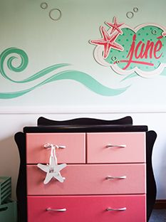 Custom design for a little girls room - wood & vinyl.