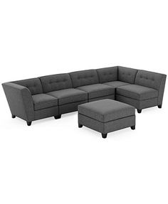 Harper Fabric Modular Sectional Sofa, 6 Piece (2 Square Corner Units, 3 Armless Chairs and Ottoman)