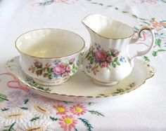 Royal Albert Creamer Set with Tray, Moss Rose Pattern, Dainty Pink Roses