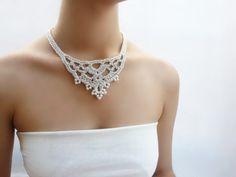Collar amor plata Collar estilo vintage Gargantilla victorian Joyería de boda Collar de perlas Joyería nupcial de DIDIcrochet en Etsy