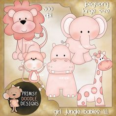 11-Pink Jungle babies   $1.00  Adorable new collection of baby girl jungle animals . Includes everything show. Created at 300 dpi in jpeg and transparent png formats. Large size. Instant download.