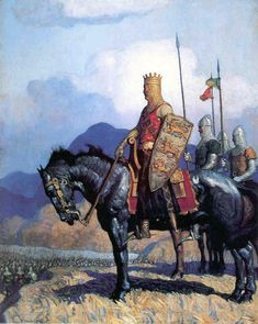 I have seen this painting, by N.Wyeth, identified as King Edward I and also as King Richard I (Lionheart). Art Et Illustration, Illustrations, Nc Wyeth, Armadura Medieval, Templer, Knight In Shining Armor, Medieval Knight, Middle Ages, American Artists