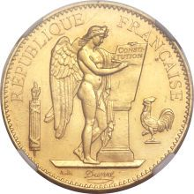Republic gold 100 Francs 1887-A, KM832, MS62 NGC, extremely rare date with a mintage of 234. The surfaces are lustrous with minimal contact marks. One of the key rarities of the French series and highly elusive in mint state