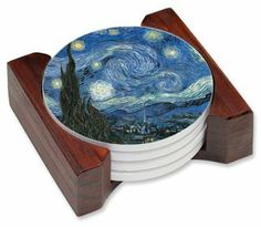 """Van Gogh: Starry Night - Ceramic Drink Coaster Set by Art Plates. $29.75. FREE SHIPPING!. Each coaster has a protective cork bottom.. Set Measures: 4.5"""" W x 4.25"""" L x 1.75"""" H. 5-piece coaster set has four beautifully decorated porcelain coasters with a wood holder.. Images are durable and permanent.. If you are looking for something to WOW your guests, here it is. This 5 piece ceramic coaster set will make your event memorable each and every time your guests se..."""