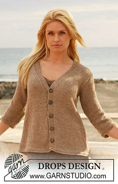 "Ravelry: 112-26 Jacket with V-neck and ¾ or long sleeves in ""Classic Alpaca"" pattern by DROPS design"