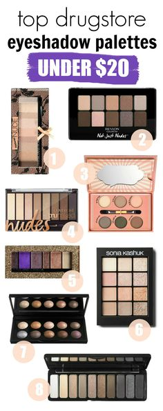 A complete guide of the best drugstore eyeshadow palettes under $20! Perfect for birthday and Christmas gifts!!