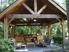 This is the kind of rough hewn timber frame pavilion I like