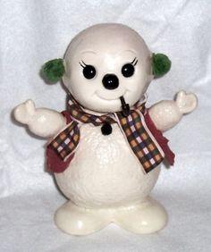 "DARLING VINTAGE 1975 8"" H SNOWMAN PIGGY BANK TOY CHRISTMAS HOLIDAY FIGURE | eBay"