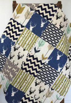 Baby Quilt, Boy, Southwest, Bow and Arrow, Stag, Woodland,Birch Forest, Deer, Navy, Mint, Green, Modern,Crib Bedding, Baby Bedding, Children