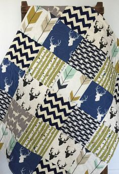Baby Quilt, Boy, Southwest, Bow and Arrow, Stag, Woodland,Birch Forest, Deer, Navy, Mint, Green, Modern,Crib Bedding, Baby Bedding, Children