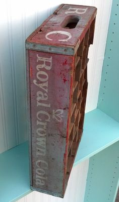 Your place to buy and sell all things handmade Oak Street, Soda Bottles, White Letters, Crown Royal, Aqua Color, Red Background, Crates, Paint Colors, Trainers