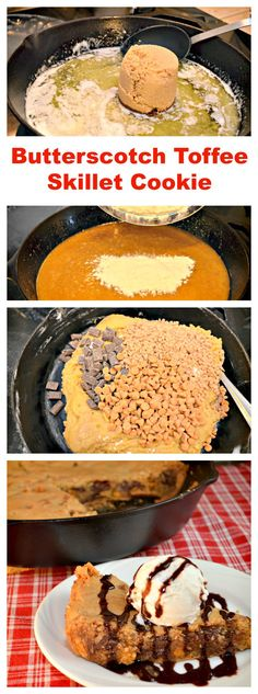 Butterscotch Toffee Skillet Cookie - Everything is made and baked in the same skillet.