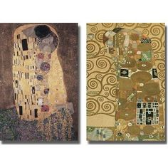 The Kiss and Fulfillment by Klimt 2pc Stretched Canvas Set $169.99