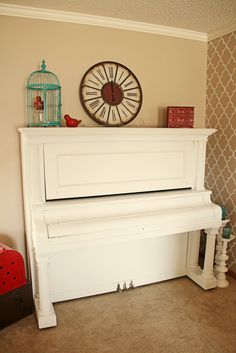 white piano with our wall color