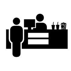 Cinema cashier selling food free icon