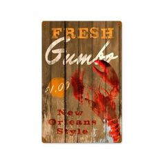 Fresh Gumbo Vintage Metal Sign New Orleans Crawfish 12 X 18 Steel