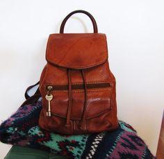 distressed saddle tan FOSSIL backpack boho leather by VintageTins, $118.00