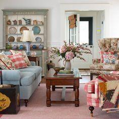 Blue & WhiteBuffalo check sofa, wood countertops and white wood work ...