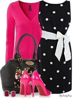 I love the black and white with pop of pink!