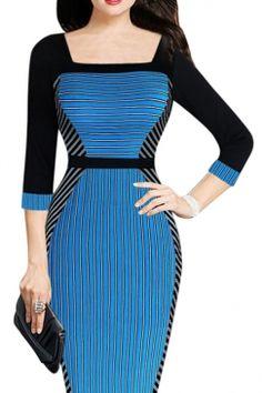 #Womens #Square #Neck #Half #Sleeve #Long #Sleeve #Midi #Dress #Blue